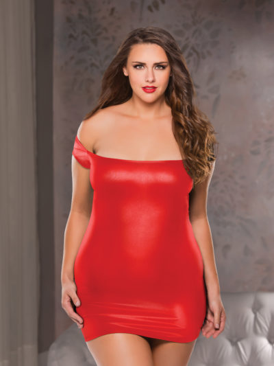 Off The Shoulder Dress Plus Size Red