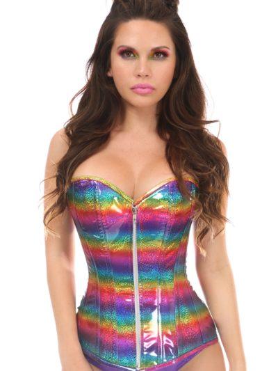 Glitter Rainbow Over Bust Corset